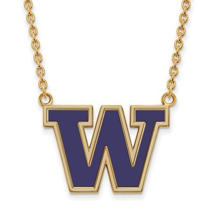 Picture of University of Washington Huskies Sterling Silver Gold Plated Large Enameled Necklace