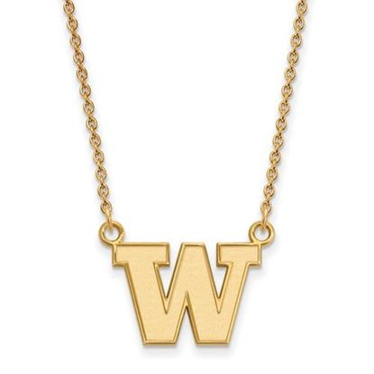 Picture of University of Washington Huskies Sterling Silver Gold Plated Small Necklace