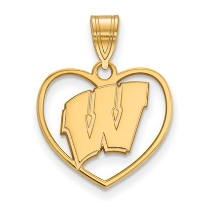 Picture of University of Wisconsin Badgers Sterling Silver Gold Plated Heart Pendant