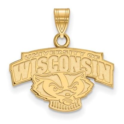 Picture of University of Wisconsin Badgers Sterling Silver Gold Plated Small Pendant