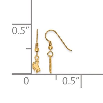 Picture of University of Wyoming Cowboys Sterling Silver Gold Plated Extra Small Dangle Earrings