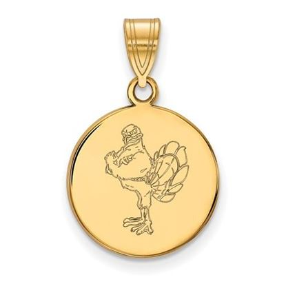 Picture of Virginia Tech Hokies Sterling Silver Gold Plated Medium Disc Pendant