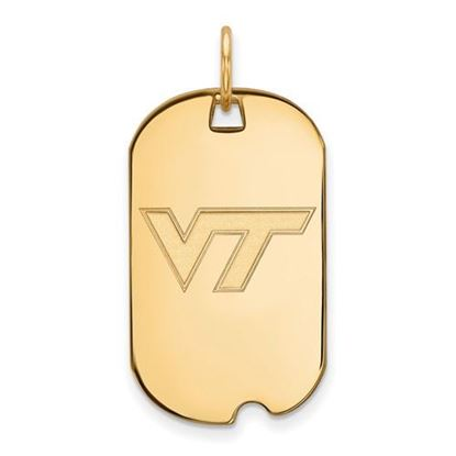 Picture of Virginia Tech Hokies Sterling Silver Gold Plated Small Dog Tag