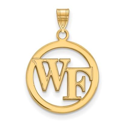 Picture of Wake Forest University Demon Deacons Sterling Silver Gold Plated Small Circle Pendant