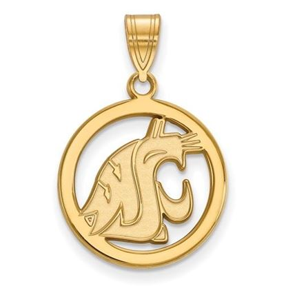 Picture of Washington State University Cougars Sterling Silver Gold Plated Small Circle Pendant