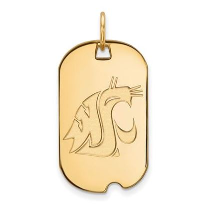 Picture of Washington State University Cougars Sterling Silver Gold Plated Small Dog Tag