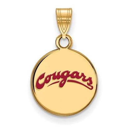 Picture of Washington State University Cougars Sterling Silver Gold Plated Small Enameled Disc Pendant