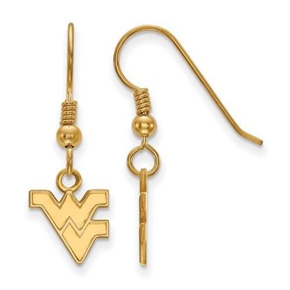 Picture of West Virginia University Mountaineers Sterling Silver Gold Plated Extra Small Dangle Earrings