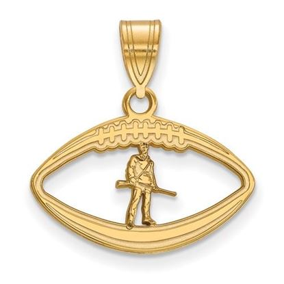 Picture of West Virginia University Mountaineers Sterling Silver Gold Plated Football Pendant