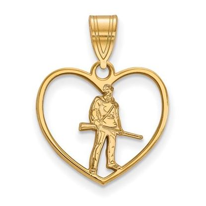 Picture of West Virginia University Mountaineers Sterling Silver Gold Plated Heart Pendant