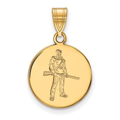 Picture of West Virginia University Mountaineers Sterling Silver Gold Plated Medium Disc Pendant