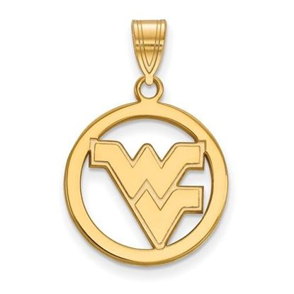 Picture of West Virginia University Mountaineers Sterling Silver Gold Plated Small Circle Pendant
