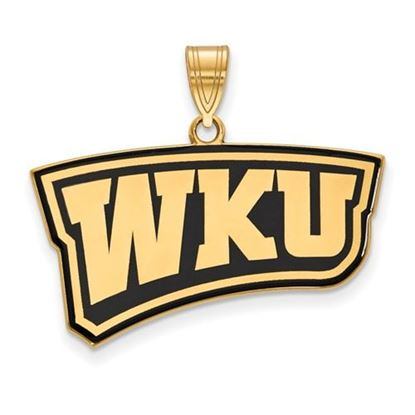 Picture of Western Kentucky University Hilltoppers Sterling Silver Gold Plated Large Enameled Pendant