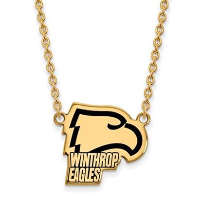 Picture of Winthrop University Eagles Sterling Silver Gold Plated Large Enameled Necklace