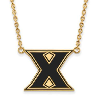 Picture of Xavier University Musketeers Sterling Silver Gold Plated Large Enameled Necklace