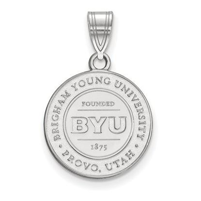 Picture of Brigham Young University Cougars 14k Sterling Silver Medium Crest Pendant