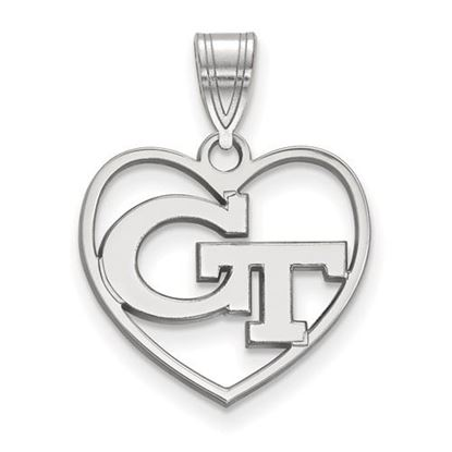 Picture of Georgia Tech Yellow Jackets Sterling Silver Heart Pendant