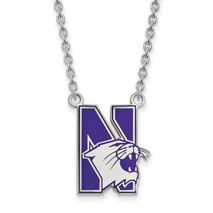 Picture of Northwestern University Wildcats Sterling Silver Large Enameled Necklace