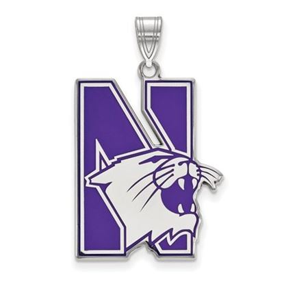 Picture of Northwestern University Wildcats Sterling Silver Extra Large Enameled Pendant