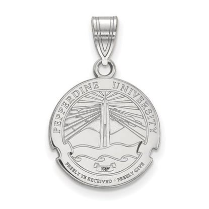 Picture of Pepperdine University Waves Sterling Silver Medium Crest Pendant