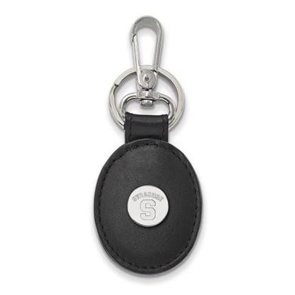 Picture of Syracuse University Orange Sterling Silver Black Leather Oval Key Chain