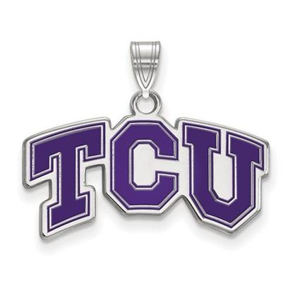 Picture of Texas Christian University Horned Frogs Sterling Silver Small Enameled Pendant