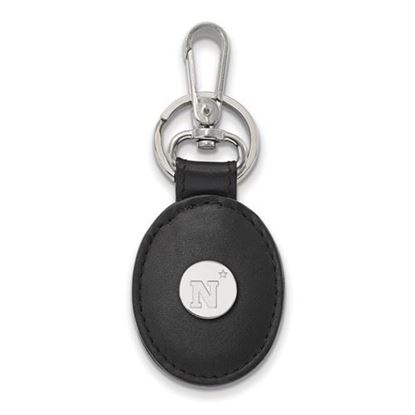 Picture of U.S. Naval Academy Midshipmen Sterling Silver Black Leather Oval Key Chain
