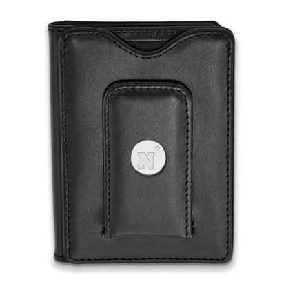 Picture of U.S. Naval Academy Midshipmen Sterling Silver Black Leather Wallet