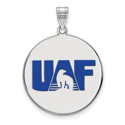 Picture of University of Alaska Fairbanks Nanooks Sterling Silver Extra Large Enameled Disc Pendant