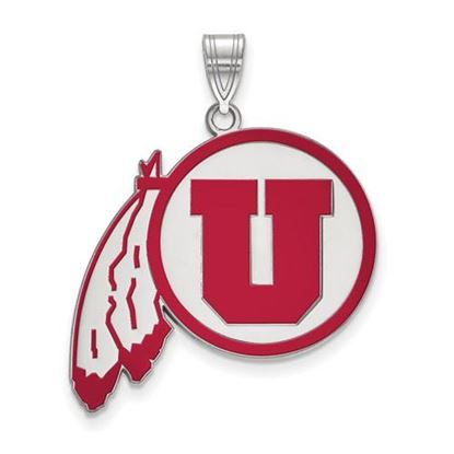 Picture of University of Utah Utes Sterling Silver Extra Large Enameled Pendant