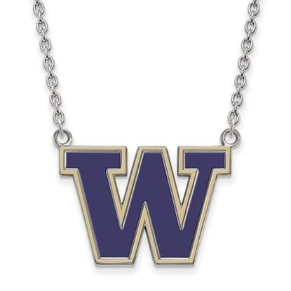 Picture of University of Washington Huskies Sterling Silver Large Enameled Necklace