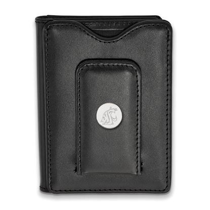 Picture of Washington State University Cougars Sterling Silver Black Leather Wallet