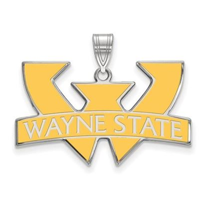 Picture of Wayne State University Warriors Sterling Silver Large Enameled Pendant