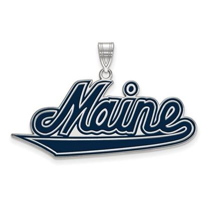 Picture of University of Maine Black Bears Sterling Silver Extra Large Enameled Pendant