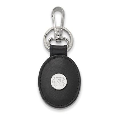 Picture of University of North Carolina Tar Heels Sterling Silver Black Leather Oval Key Chain