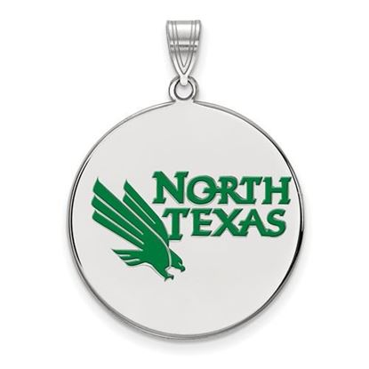 Picture of University of North Texas Mean Green Sterling Silver Extra Large Enameled Disc Pendant