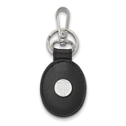 Picture of Indiana University Hoosiers Sterling Silver Black Leather Oval Key Chain