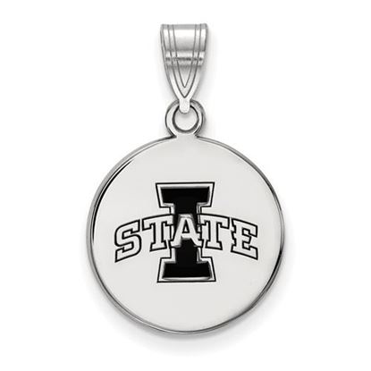 Picture of Iowa State University Cyclones Sterling Silver Medium Enameled Disc Pendant
