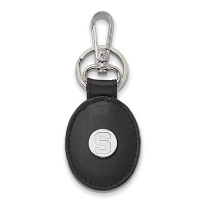 Picture of Michigan State University Spartans Sterling Silver Black Leather Oval Key Chain