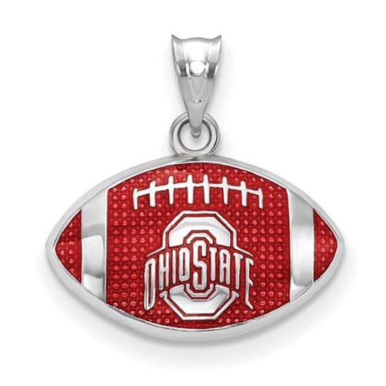 Picture of Ohio State University Buckeyes Sterling Silver Enameled Football Pendant