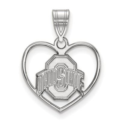 Picture of Ohio State University Buckeyes Sterling Silver Heart Pendant