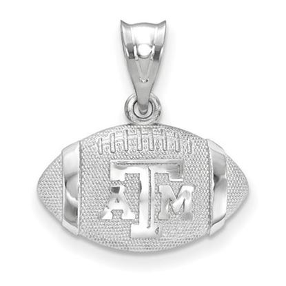 Picture of Texas A&M University Aggies Sterling Silver 3D Football Logo Pendant