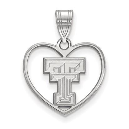 Picture of Texas Tech University Red Raiders Sterling Silver Heart Pendant
