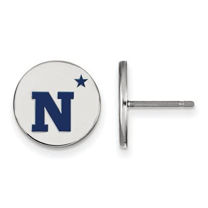 Picture of U.S. Naval Academy Midshipmen Sterling Silver Small Enameled Disc Earrings