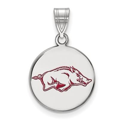 Picture of University of Arkansas Razorbacks Sterling Silver Medium Enameled Disc Pendant