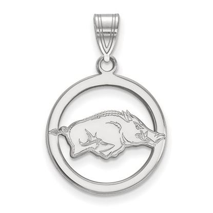 Picture of University of Arkansas Razorbacks Sterling Silver Small Circle Pendant