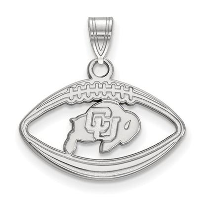 Picture of University of Colorado Buffaloes Sterling Silver Football Pendant