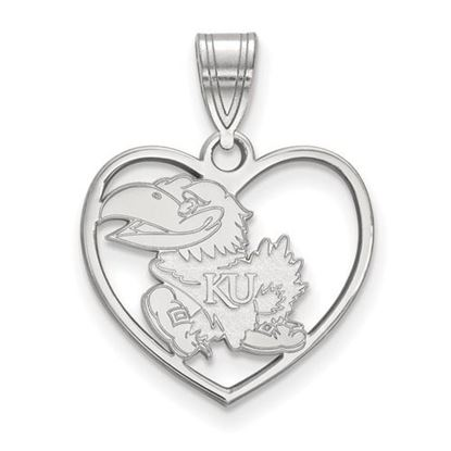 Picture of University of Kansas Jayhawks Sterling Silver Heart Pendant
