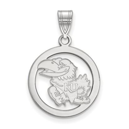 Picture of University of Kansas Jayhawks Sterling Silver Small Circle Pendant
