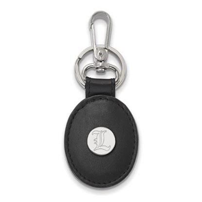 Picture of University of Louisville Cardinals Sterling Silver Black Leather Oval Key Chain